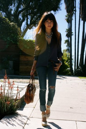 navy emporio armani blouse - blue BDG jeans - light brown Alexander Wang bag