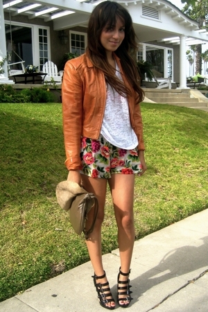 vintage jacket - f21 shirt - shorts - f21 shoes