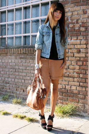 black Moschino blouse - beige thrifted shorts - blue Gap jacket - beige Alexande