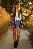 dark gray f21 sweater - ivory vintage blouse - light blue vintage shorts - black