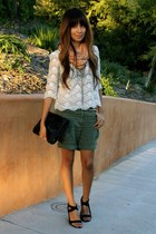 army green cotton on shorts - ivory f21 blouse - black calvin klein shoes - blac