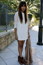 white thrifted dress - brown vintage boots - beige free people blazer