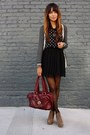 crimson Marc Jacobs bag - black pleated f21 skirt