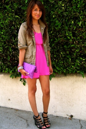 green Gap jacket - black strappy wedges f21 shoes - pink silk f21 dress