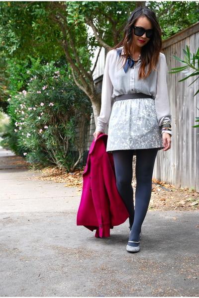 hot pink wool banana republic coat - silver Ann Taylor Loft skirt
