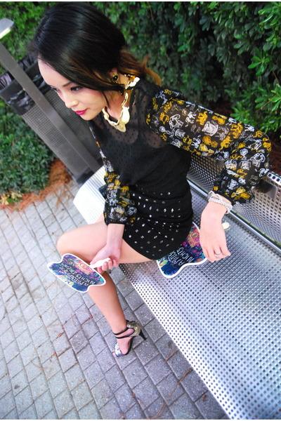 black sheer rodarte x target blouse - blue glitter Zara heels