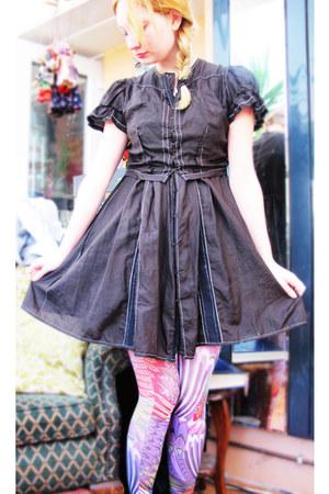 black All Saints dress - amethyst tights
