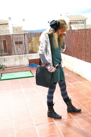 white George tights - black All Saints shoes - green Bershka dress
