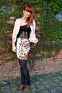 Camel-biker-style-blazer-black-tights-white-pencil-skirt-dark-brown-heels