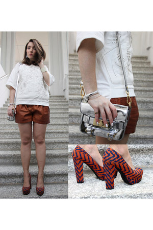 silver mirrored silver Zara bag - brown Zara shorts