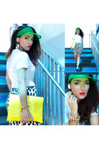 white Marni for H&M earrings - chartreuse H&M Trend hat - Bershka bag