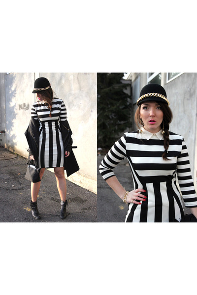 striped H&M dress - bomb H&M hat - pliage longchamp bag
