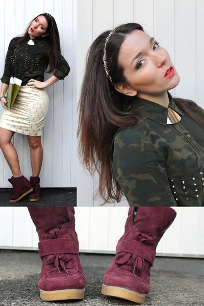 olive green Zara shirt - cream baroque H&M skirt