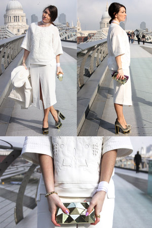 white Zara sweatshirt - white splited asos skirt
