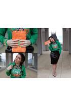 spikes SONNI accessories bracelet - sequins Zara bag - high shine H&M skirt