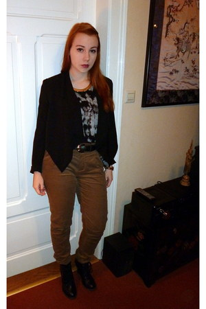 black shoes 4 you boots - black H&M blazer - heather gray new look shirt
