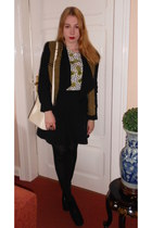 white H&M shirt - black H&M boots - olive green Mango jacket - cream Bally bag