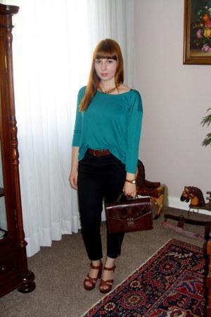 turquoise blue Monki shirt - dark brown Secondhand bag - black H&M pants