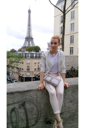 white unknown brand jacket - light pink Orsay jeans - white New Yorker shirt