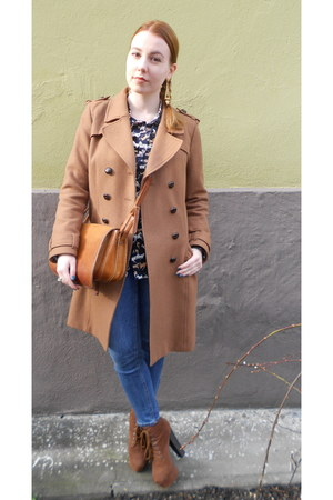 camel H&M coat - light brown Nelly boots - sky blue H&M jeans