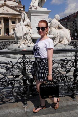 black TOM & EVA bag - white unknown brand shirt - black Ebay shorts