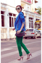 blue house jacket - beige Svetski shoes - green Stradivarius jeans