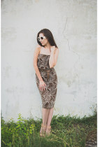light brown made by me dress - nude leather Mango sandals