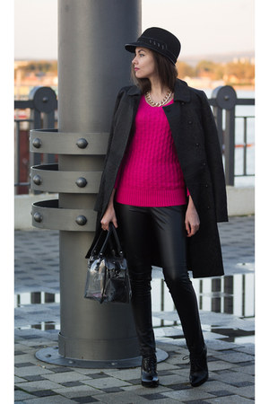 black Love Republic coat - hot pink GJ sweater - black trasparent Zolla bag