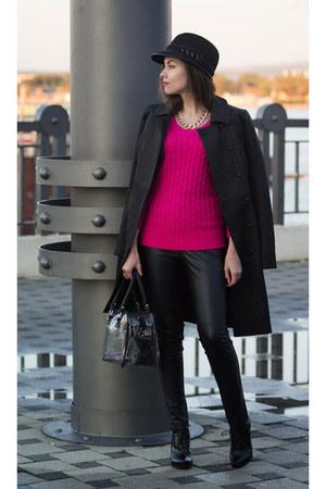 black Love Republic coat - hot pink GJ sweater - black trasparent Zolla bag