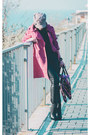 Pink-trench-befree-coat-tan-c-a-hat-black-zolla-sweater-black-zolla-bag