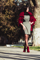ruby red suede Centro boots - charcoal gray wool leather Love Republic dress