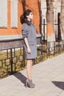 Heather-gray-faux-suede-centro-boots-black-befree-dress