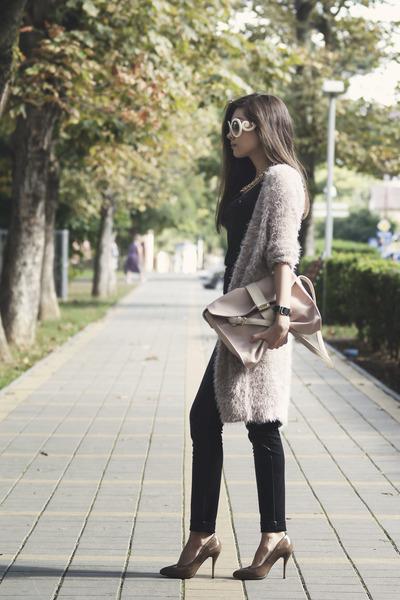 black Zolla top - beige Orsay cardigan - light pink ostin belt