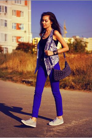 blue New Yorker jeans - navy Ask bag - black self-made bracelet