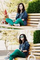 navy denim Big Ray jacket - green Stradivarius jeans