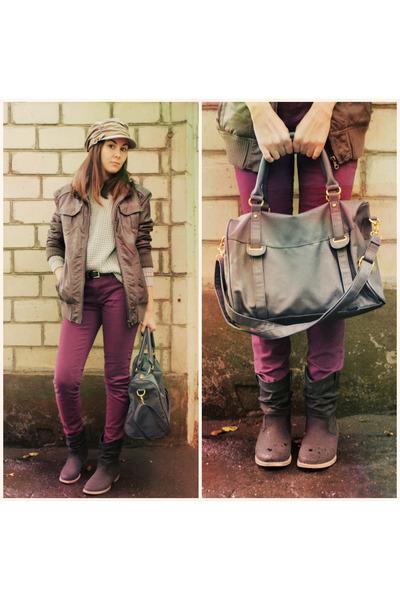 brown boyfriend New Yorker jacket - dark gray New Yorker boots