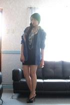 Bik Bok little black dress - thrifted boyfriend blazer - Charles & Keith heels -
