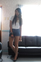 white shirt - old shorts - dept store heels - random brand ring
