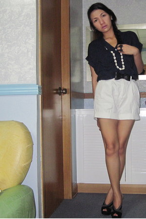 white thrifted shorts - navy bought online top - black Charles & Keith heels