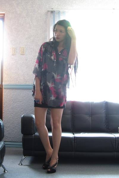Little Black dress - dept store sheer oversized top - Charles & Keith heels