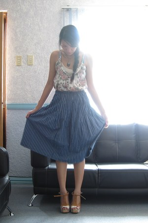 pink worn as top dress - navy thrifted skirt - orange Soulier heels - Bohol neck
