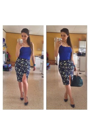 green bag - blue Zara skirt - blue Aldo heels