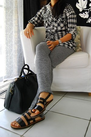 random shirt - Isabel Marant leggings - Jil Sander sandals