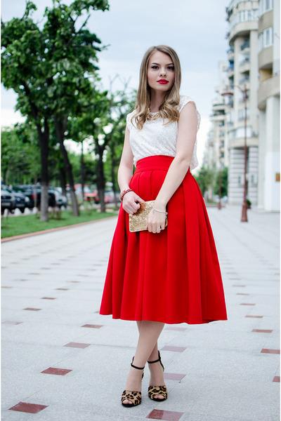 red Front Row Shop skirt - gold H&M bag - black Zara sandals