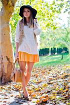 dark brown suiteblanco hat - light orange Hermes bag - dark brown H&M pumps