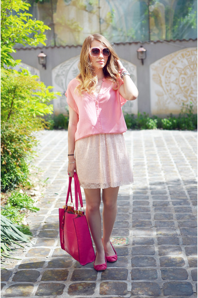 light pink Stradivarius skirt - bubble gum Bershka blouse
