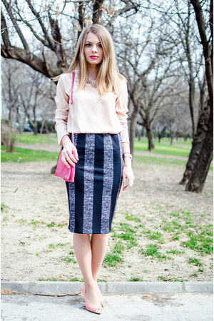 black Bershka skirt - hot pink SIX bag - light pink Lefties blouse