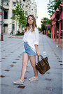 White-h-m-shirt-dark-brown-unknown-bag-sky-blue-unknown-shorts