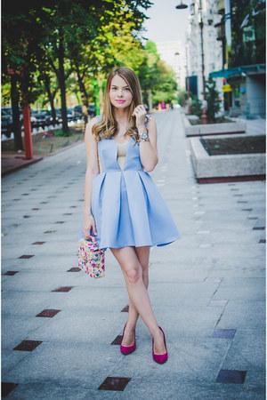 light blue Sheinsidecom dress - hot pink Bershka heels