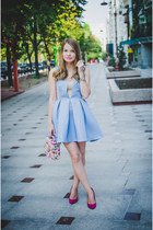 light blue Sheinsidecom dress - hot pink Bershka heels